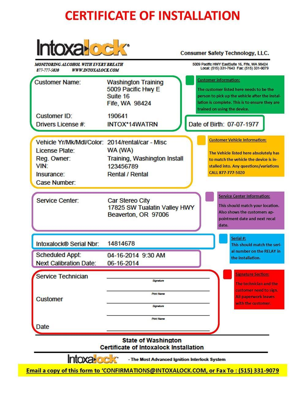 Intoxalock Certification Guide Pdf January 2014 Wiring Diagram Remote Control Sample Certificate Of Installation