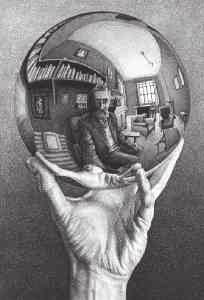 What factors in the design of the reflecting mirror would guarantee very high temperatures? 15. Figure CQ36.15 shows a lithograph by M. C. Escher titled Hand with Reflection Sphere (Self-Portrait in Spherical Mirror).