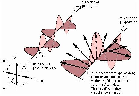 Polarization Types Circularly polarized light consists of two perpendicular electromagnetic plane waves