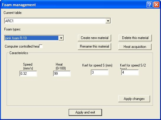Important Menus in the Control Program 1. GMFC a. Foam Management: Define presets for cutting speed, heat, and kerf.