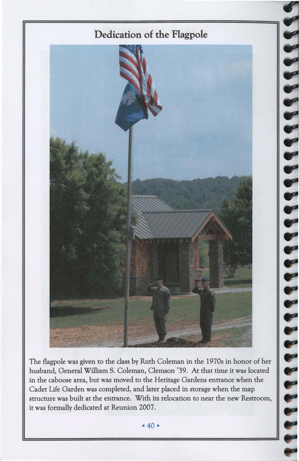 Clemson Am College Class Of 1939 Reunion Program Pdf 2366b Wiring Diagram Coleman Dedication The Flagpole Was Given To By Ruth In