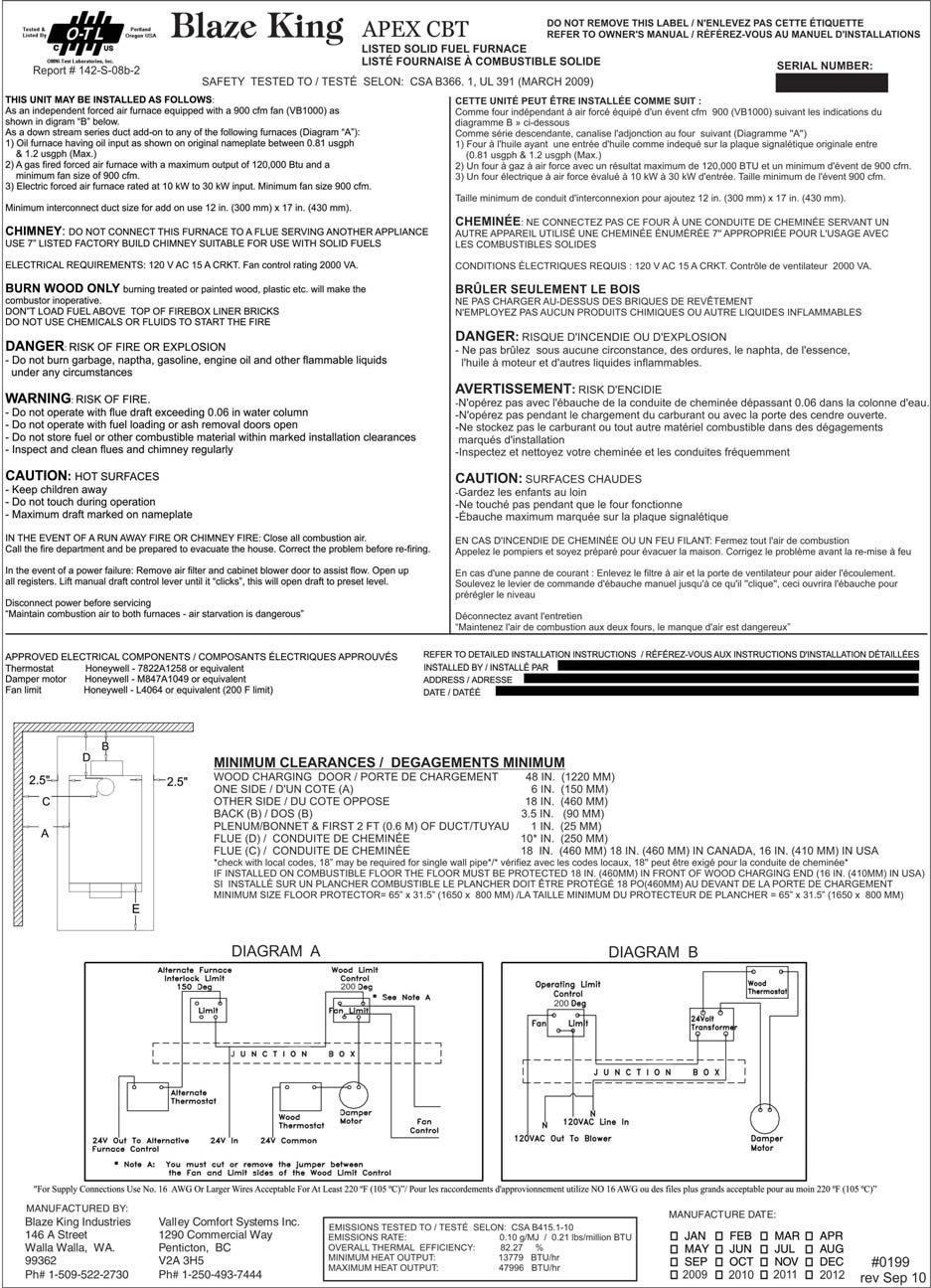 Operation Installation Manual Manufactured By Pdf King Electric Furnace Wiring Diagram Apex Cbt Page 7