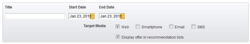 1. Basic information Title Start Date End Date Target Media Display offer in recommendation lists Enter the internal name of the offer. Cardholders will not see this title.