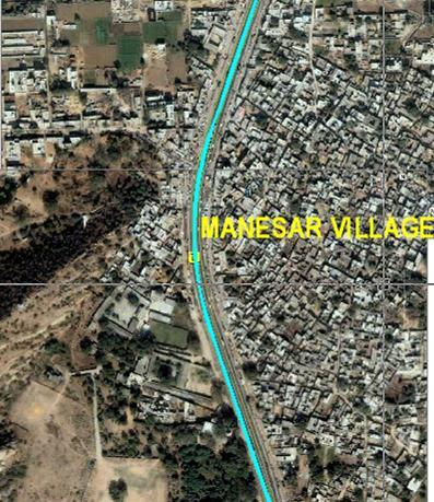 10 Manesar Panchgaon Section From Manesar, the alignment will run elevated on the central verge of NH-8 through the congested Manesar village, across the Aravalli Range and