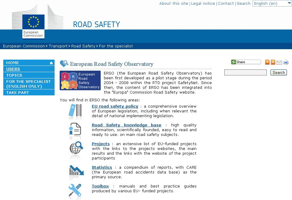 necessary for the support of road safety decision making in Europe Key road safety analyses and syntheses Basic Fact Sheets Annual