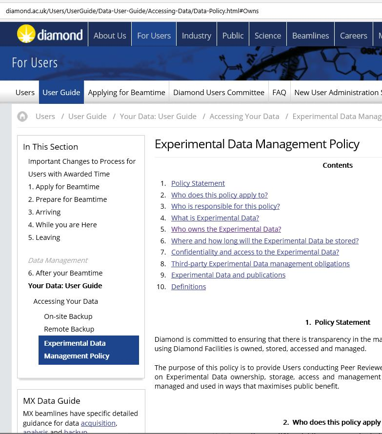 Diamond s experiment data policy...users conducting Peer Reviewed Research will own the Experimental Data that they produce.