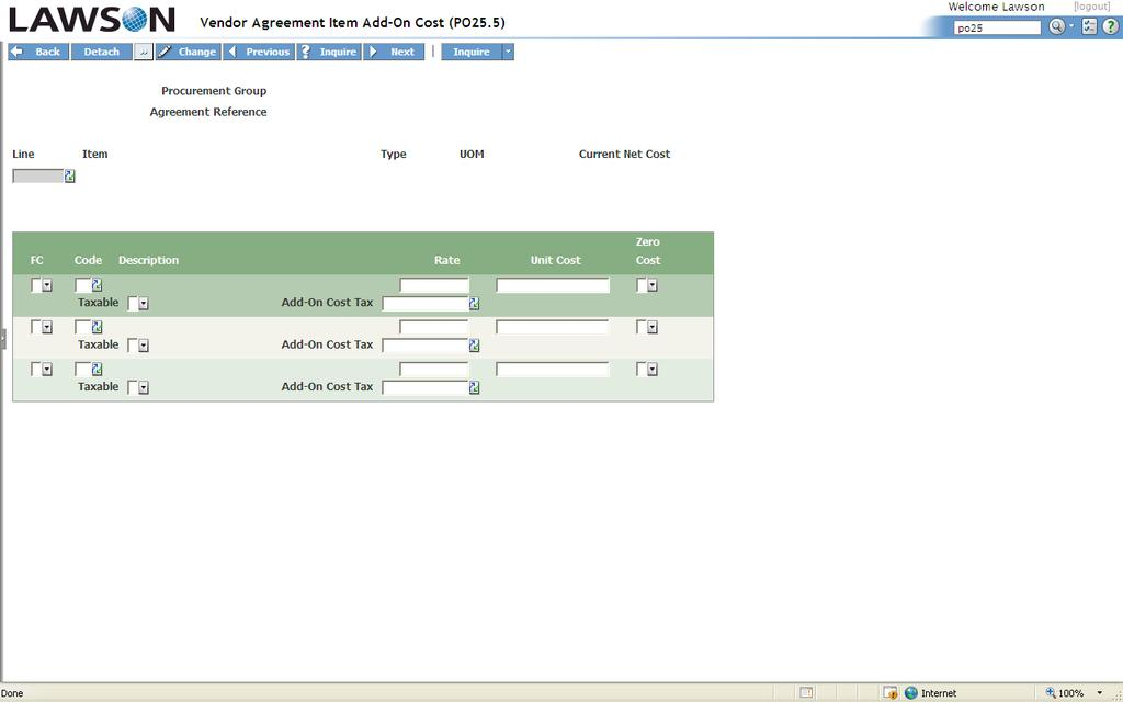 Vendor Agreement Item Add-On Cost PO25.