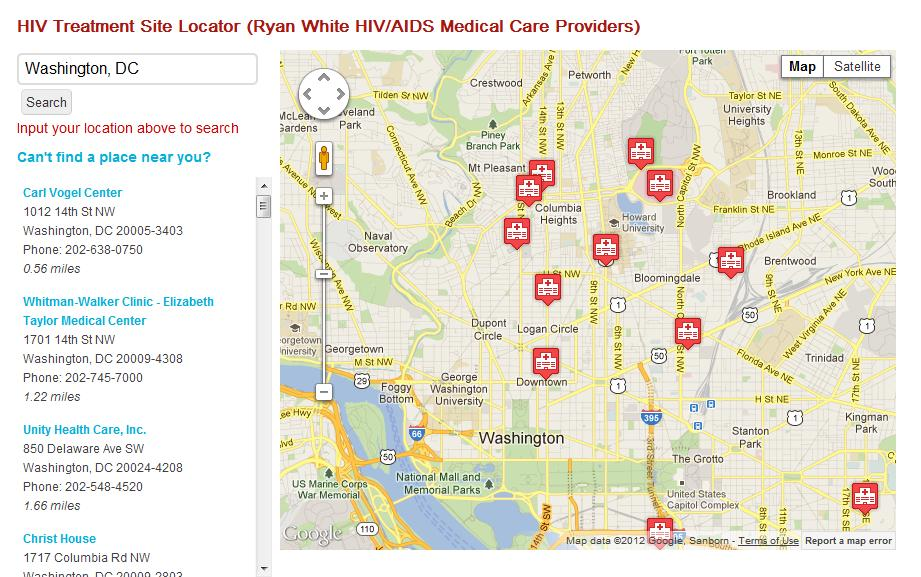 Other AIDSVu Features HIV Testing Site Locator CDC National Prevention