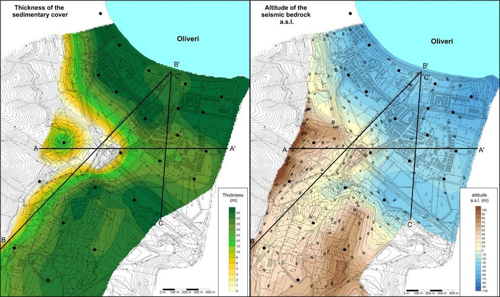 Right) Map of the altitude of the seismic bedrock above sea level. Fig.. Oliveri.