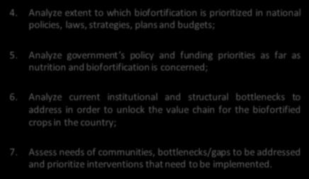 Slide 9 Specific objectives of SITAN. 4. Analyze extent to which biofortification is prioritized in national policies, laws, strategies, plans and budgets; 5.