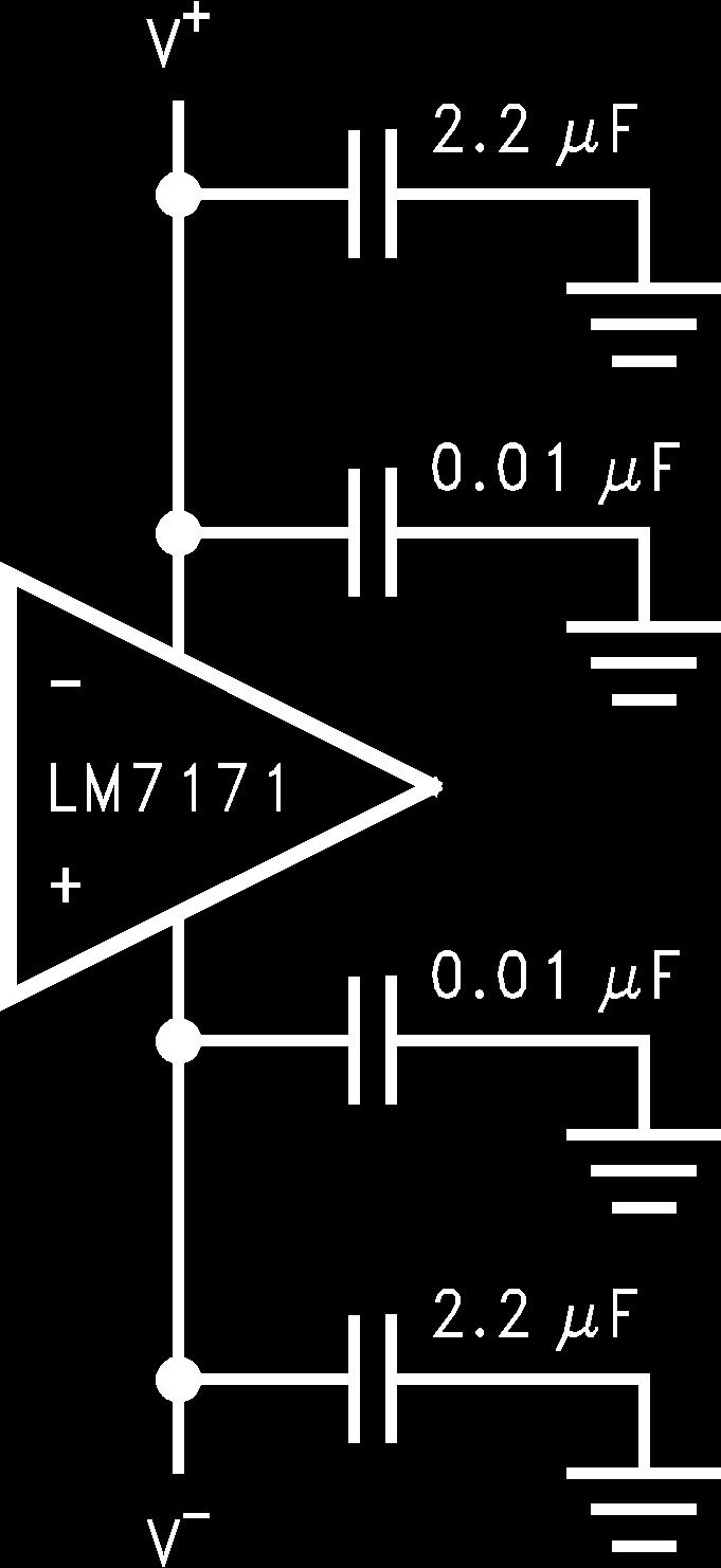 Lm7171 Very High Speed Output Current Voltage Feedback Lm139 Comparators Schematic Diagram And Datasheet Application Notes Continued Ally By Placing 001 F Ceramic Capacitors Directly To Power Supply