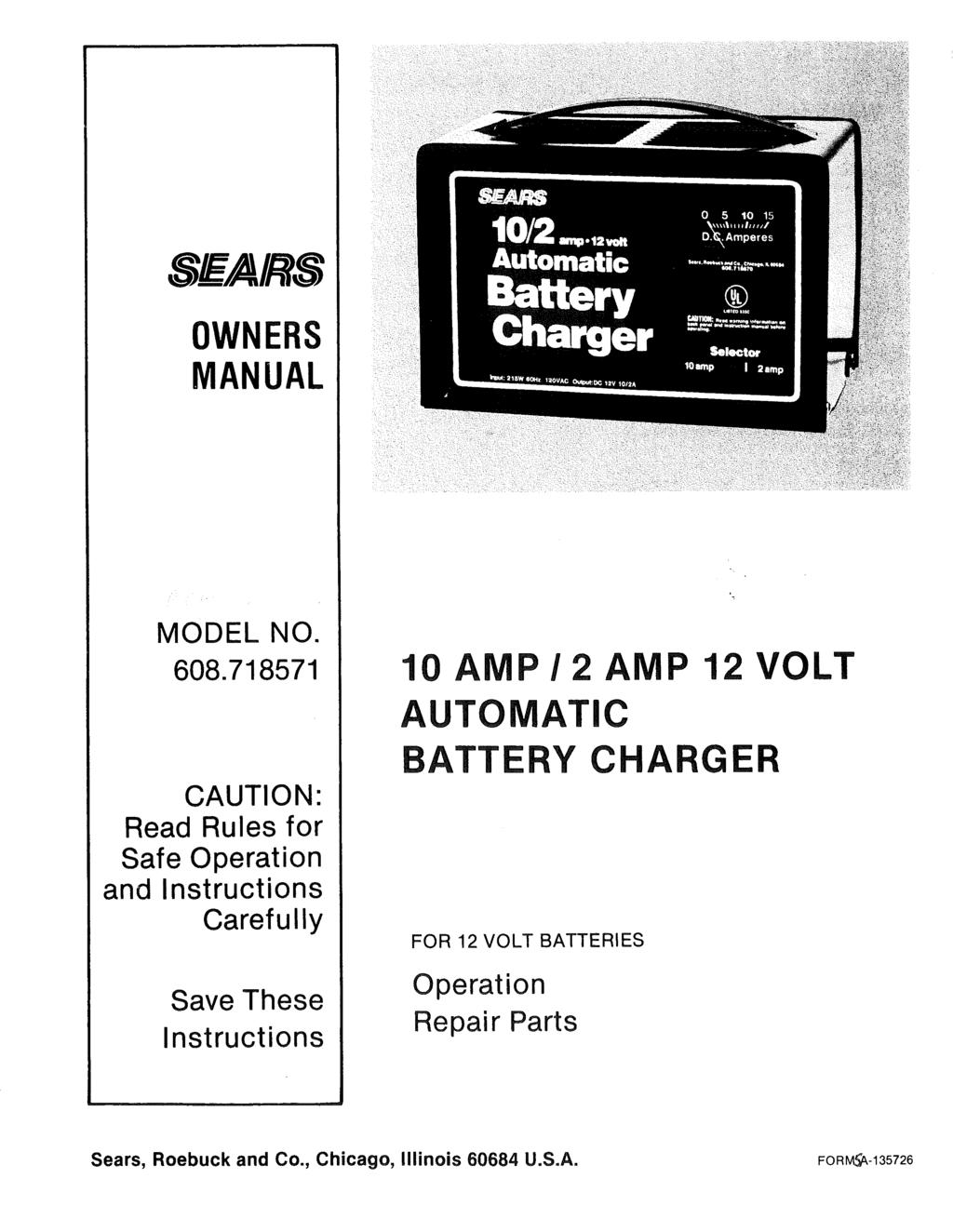 SEARS OWNERS MANUAL MODEL NO. 608.