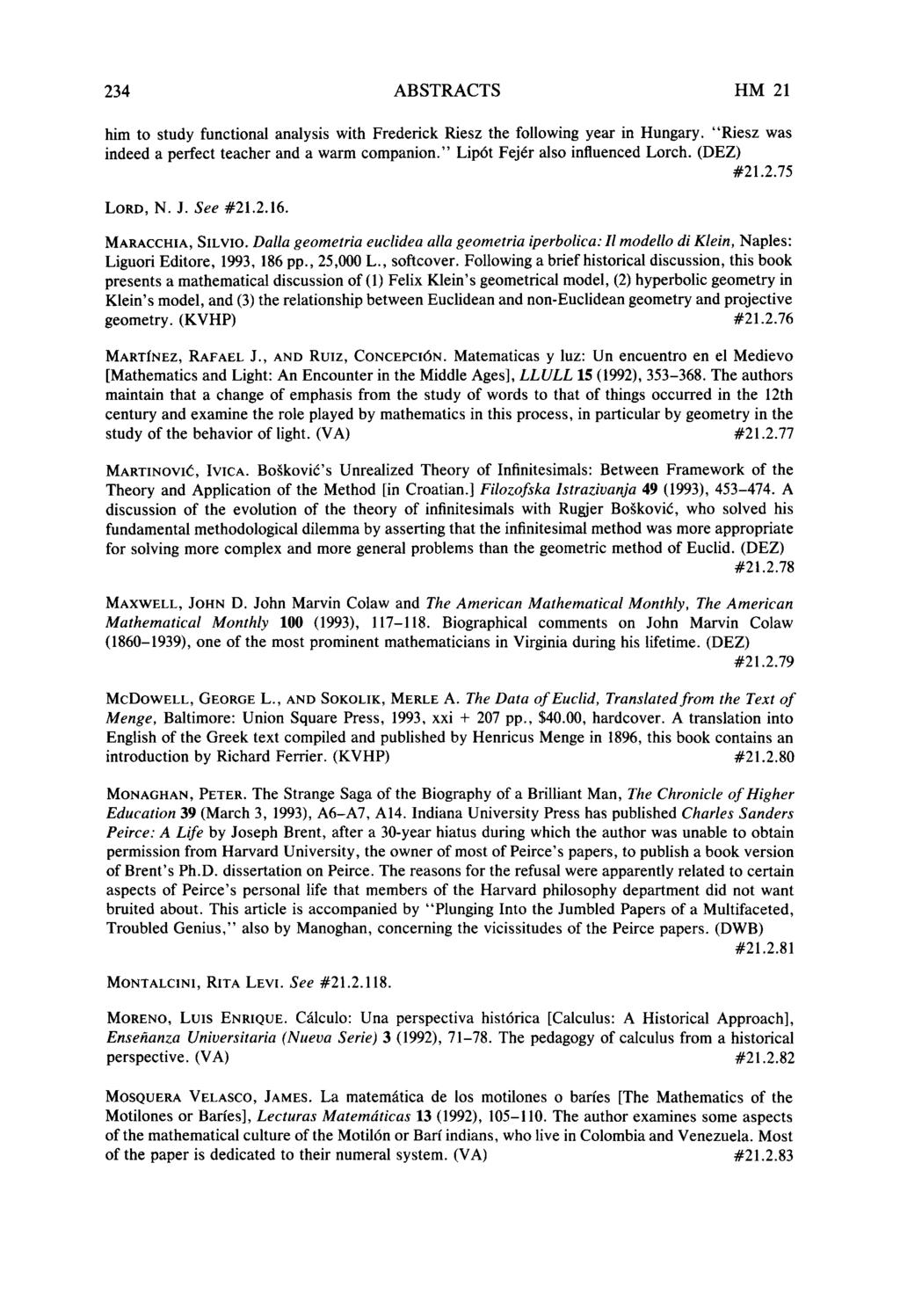 ABSTRACTS HISTORIA MATHEMATICA 21 (1994), Edited by DAVID E