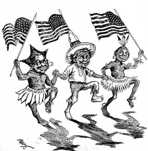(Bart) Batholomew of the Minneapolis Journal (July 2, 1898), presents a happier, if stereotyped, view of three new Americans, including one labeled Philippines on the skirt to the right.
