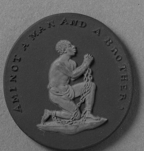 "Document 6 This medallion was created by Josiah Wedgwood, a British ceramics maker and abolitionist, around 1787. The image of the kneeling slave in chains asking ""Am I Not a Man and a Brother?"