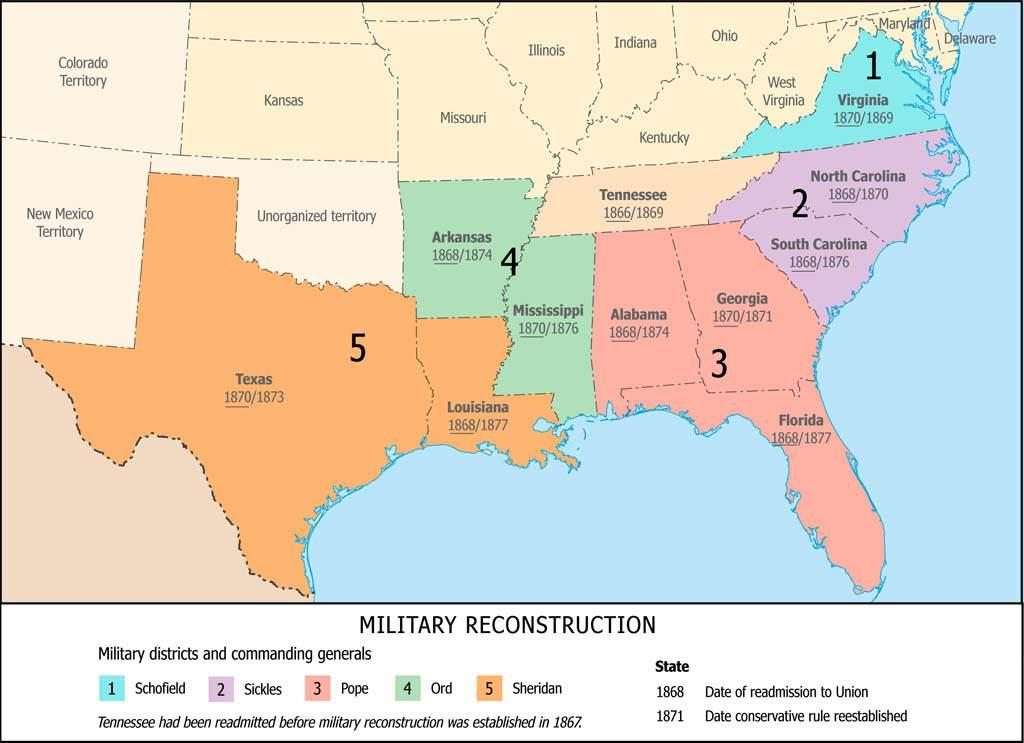 Reconstruction The South was divided into five military districts. The army, or martial law, would govern the districts.