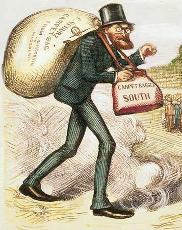 Some Northerners moved to the South after the war looking for business opportunities. White Southerners called them carpetbaggers because they carried inexpensive suitcases made of carpet fabric.