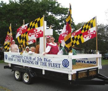 This float led the parade with museum and community volunteers in colonial attire.