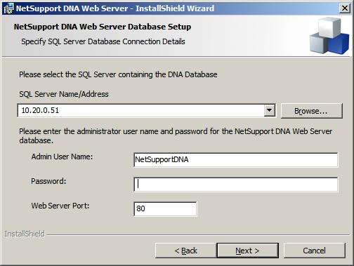 Note: If you do not know the user name or password, run the DNADBWizard on the machine running the NetSupport DNA Server.