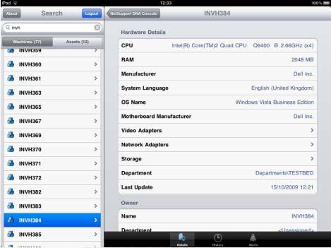 Using DNA Mobile Console After logging on, the Console will display a list of all the machines in your company.