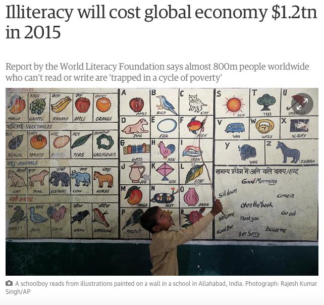 Research and Advocacy In September 2015 we released a global index report of the economic cost and social impact on illiteracy.