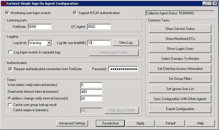 Agent-based FSSO Configuring the FSSO Collector agent for Windows AD The FSSO Agent ss only Domain Local Security Group and Global Security Group information to FortiGate units.