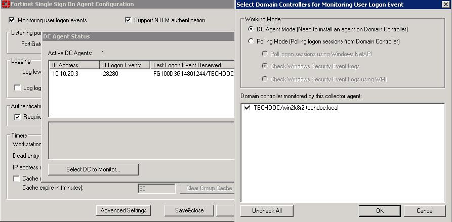 Configuring the FSSO Collector agent for Windows AD Agent-based FSSO 3.
