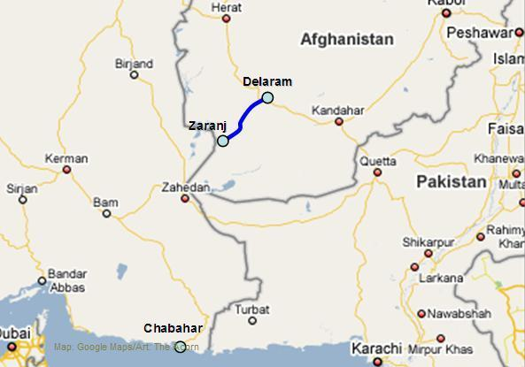 Figure 5: Map Showing the location of 215 Km Zaranj and Delaram Road India-send- Source: http://www.defence.pk/forums/current-events-social-issues/49089- more-troops-afghanistan-7.