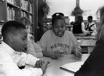 front-teen violence 3/1/04 2:18 PM Page 102 102 These fourth and fifth graders in Brooklyn practice peer mediation in preparation for solving conflicts outside the classroom.