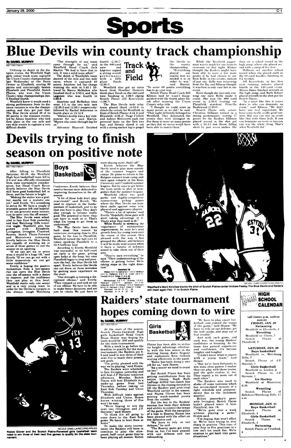 January 28, 2000 C-1 Sports Blue Devils win county track championship  Utilizing its