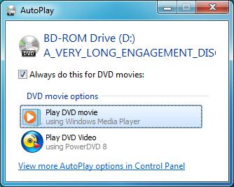 AutoPlay The Windows AutoPlay function allows you to choose the way Windows handles media files on devices with removable storage (digital camera, CD, DVD, etc).