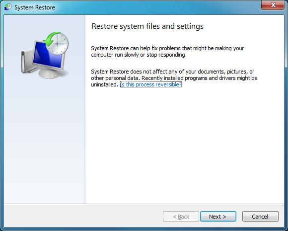 Windows System Restore.