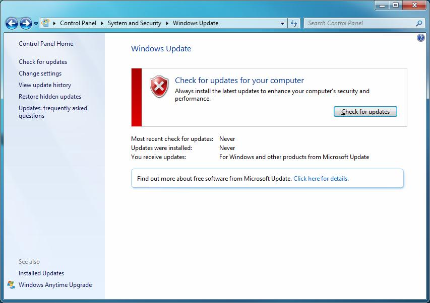 Perform updates when prompted by Windows Action Center. Use Microsoft Windows Automatic Updates. Run Windows Update.