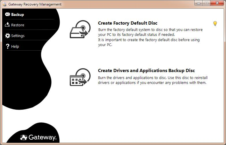 2. To create recovery discs for the hard drive s entire original contents, including Windows and all factory-loaded software and drivers, click Create Factory Default Disc.