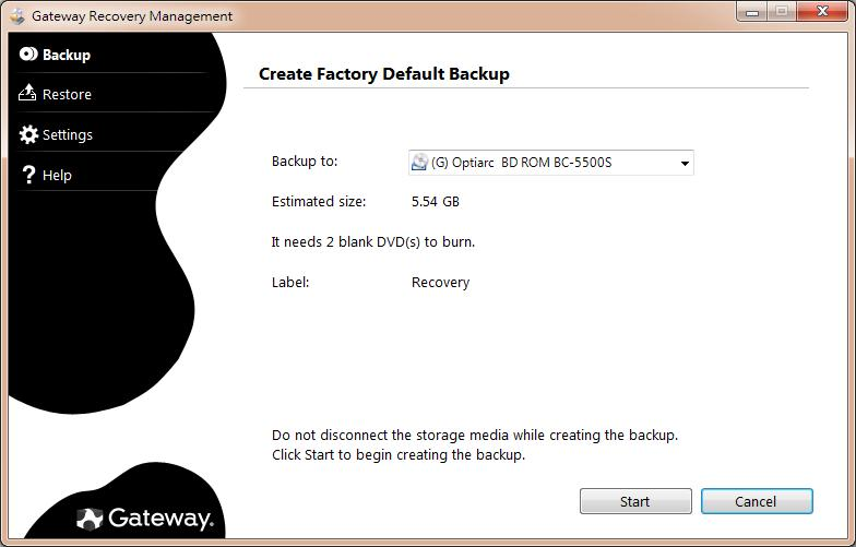 The Create Factory Default Backup dialog box opens.