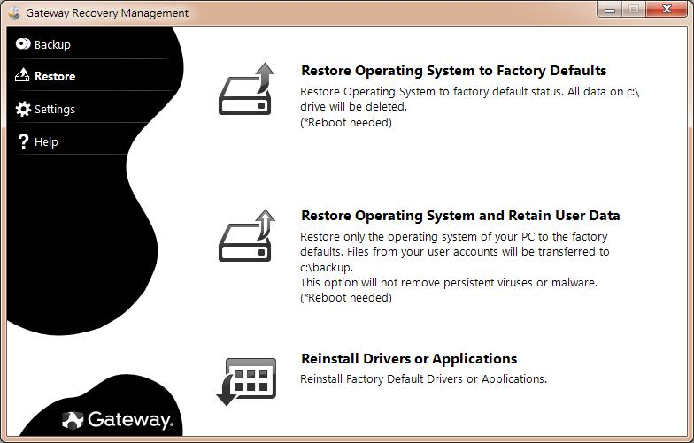 2. Click on the Restore tab, then click Reinstall Drivers or Applications. The Gateway Application Recovery main menu opens. 3. Click on Contents. A list of software and device drivers opens. 4.