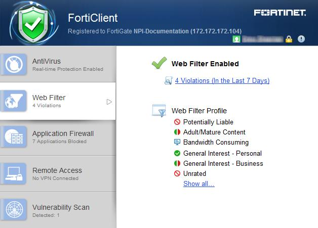 Forticlient administration guide version pdf web filter web securityweb filter you can disable web category filtering in forticlient from ccuart Images
