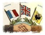 F for the FRENCH with Britain and Russia allied. What name was given to this alliance? When was it established? Why was it established? Who were the principal leaders of the countries in the alliance?