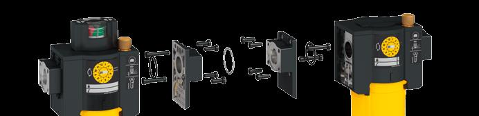 They attach easily to the connection flanges. The kit permits mounting of filter combinations comprising up to three filters.