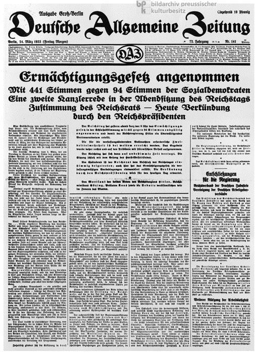 Enabling Act - 23 March 1933 Enabling Act - 23 March 1933 The Reichstag voted to give Hitler the power to make his own laws.