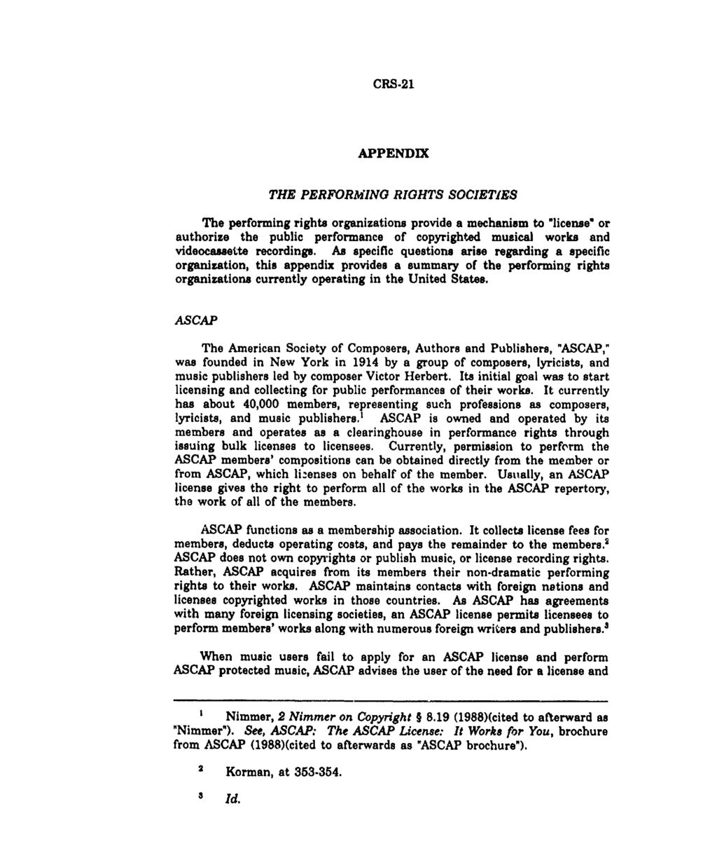 Crs Copyright Law Performance Rights In Musical Compositions And