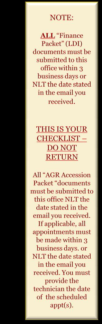 agr medical screening form must be completed and returned within 3
