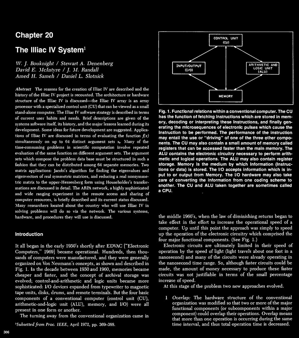 The Illiac Iv Computer 1 Pdf Organization Of Systems Arithmetic Architecture Or Hardware Structure Iluac Is Discussed Luiac Array