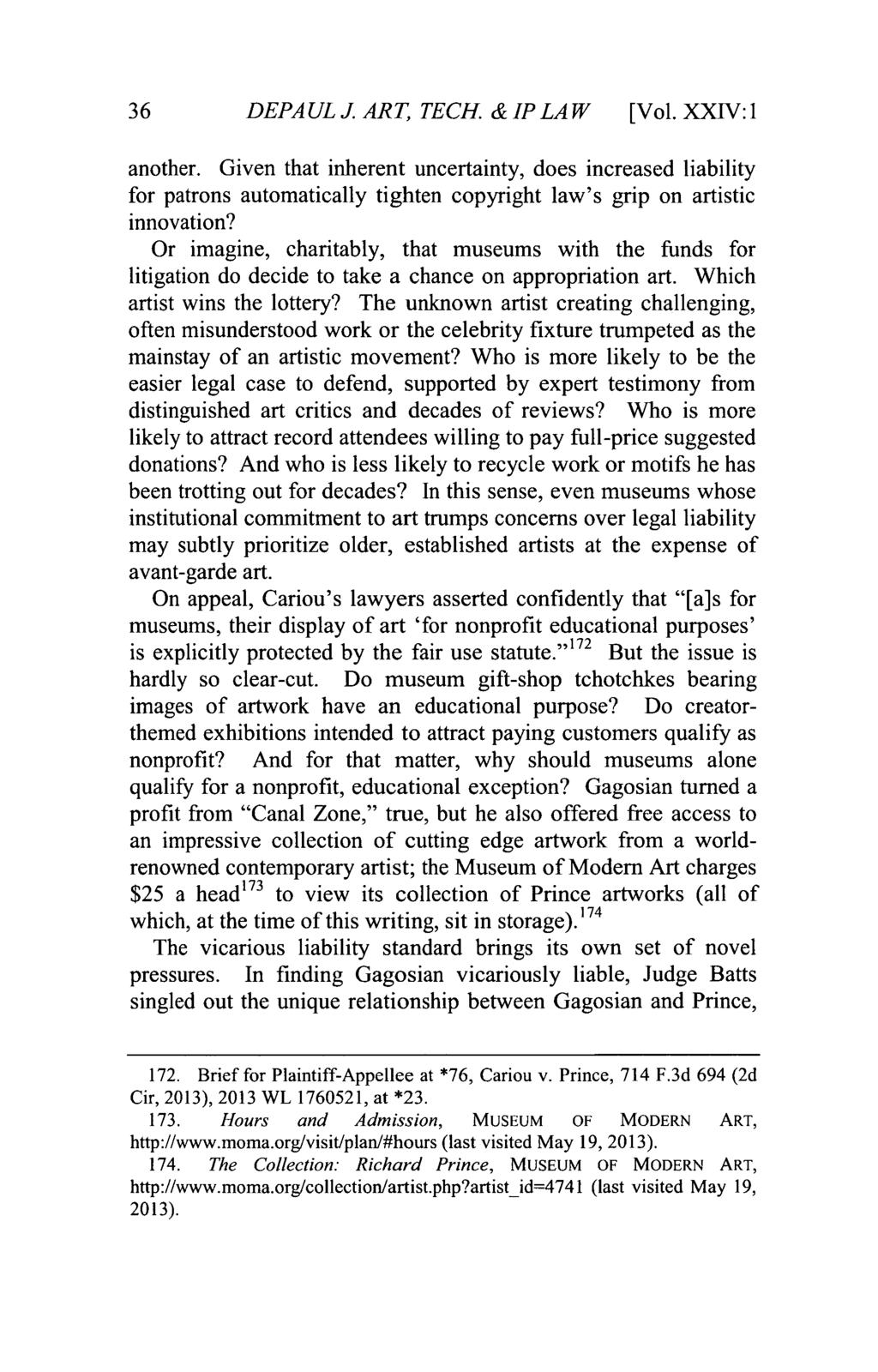 DePaul Journal of Art, Technology & Intellectual Property Law, Vol. 24, Iss