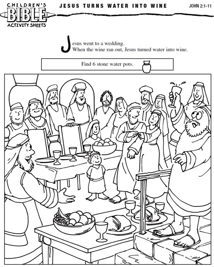 Free Jesus Turns Water Into Wine Coloring Pages, Download Free ... | 1024x822