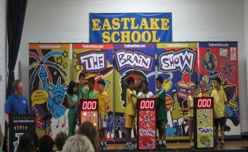 Participants were required to answer educational questions and had to dance to music to keep their points. It certainly held the students interest until the end of the show.
