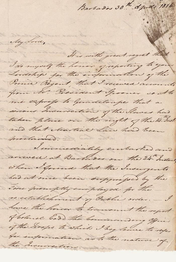 5 Source 1 : Letter from James Leith, Governor of Barbados, to Earl