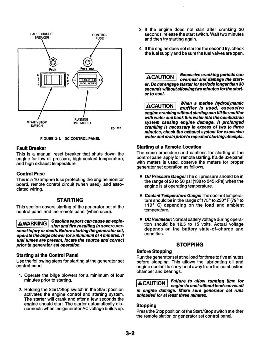 Mce Ensign Series 4500 6500 Printed In Usa Pdf Remote Control Switch Circuit 7 Remotecontrolcircuit Fault Breaker 3 If The Engine Does Not Start After