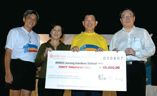 HAPPENINGS Charity Run Raises S$48K for Special School By Public, International & Alumni Relations (From left) Asst Prof Alan Ch ng (Chairman, NIE Director s Relay Run 2007 Organising Committee), Ms