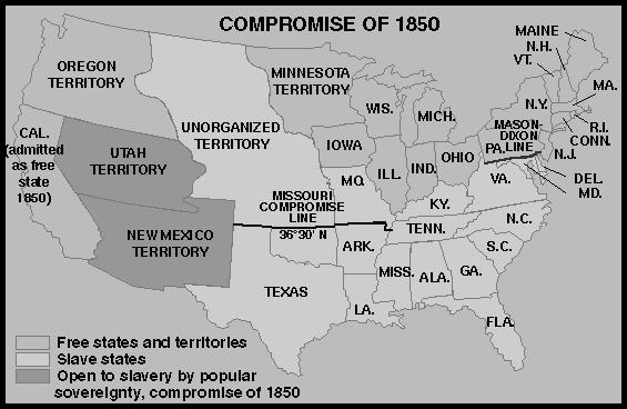 Document 1 The Compromise of 1850 introduced into Congress by Henry Clay was designed to settle the slavery question in the new western lands acquired after the Mexican War.